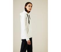Baumwoll-Seidenjacke mit Perlen-Details Weiß