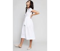 Baumwoll-Kleid mit Bindedetail Weiß - 100% Baumwolle