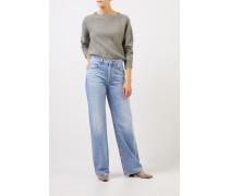 Rippstrick-Cashmere-Pullover Salbei