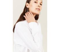 Baumwoll-Bluse mit Faltendetails Weiß -