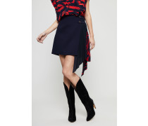 Woll-Rock mit Seidendetail Navy/Red