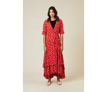 Wickelkleid mit Blumenprint Rot