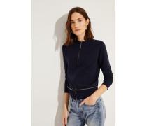Cashmere-Jacke mit Perlenverzierung Blau
