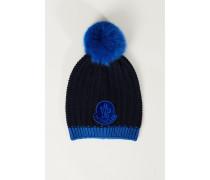 Woll-Mütze mit Bommel Blau