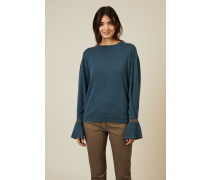 Cashmere-Pullover mit Perlendetails Petrol - Cashmere