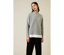 Woll-Seiden-Pullover Grau/Weiß - Cashmere