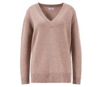 Woll-Cashmere Pullover mit V-Ausschnitt Taupe