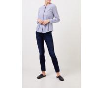 Taillierte Baumwoll-Bluse mit Streifen Blau/Weiß