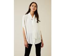 Seiden-Bluse mit Bindedetail Weiß - Seide