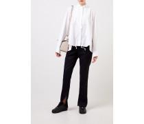 Bluse mit Kordel-Detail Weiß- Bluse in Weiß - Stehkragen - Lange Ärmel - Kordel-Detail - Rückseitiger Zipper - Lockere Silhouette - Auf Gesäßhöhe endend Material 1: - 65% Polyester - 35% Baumwolle Material 2: -