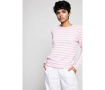 Gestreifter Cashmere-Pullover Weiß/Rosa - Cashmere