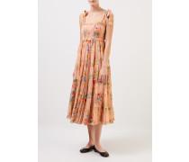Baumwoll-Seiden-Kleid 'Zinnia' mit floralem Print Coral/Multi