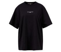 Baumwoll-T-Shirt mit Logo Print Schwarz