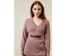 Cashmere-Pullover mit Gürtel Rosé - Cashmere