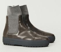 High-Top-Ledersneaker mit Strickeinsätzen Taupe - Leder