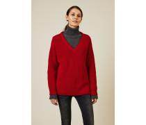 V-Neck Baumwoll-Pullover Rot
