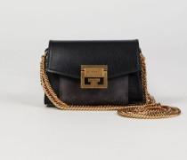 Mini-Tasche 'GV3 Nano' mit Goldelementen Black/Grey - Leder