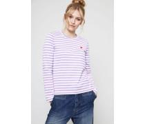 Gestreiftes Longsleeve Violett/Weiß - 100% Baumwolle