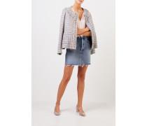 Tweed-Blazer mit Fransen Hellblau/Multi
