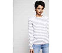 Cashmere Pullover gestreift Weiß/Grau - Cashmere