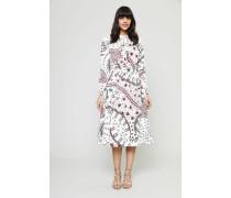 Kleid mit Allover-Print und Bindeelement Multi - 100% Baumwolle