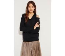 Seide-Cashmere Pullover mit Perlenverzierung Schwarz