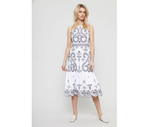 Baumwollkleid 'Mariana' mit Lochmuster Blau/Weiß - 100% Baumwolle
