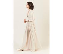 Langes Seiden-Kleid mit Raffung Beige