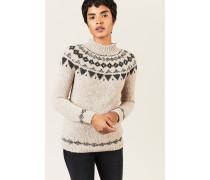 Woll-Alpaca-Pullover Braun/Grau