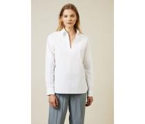 Klassische Baumwoll-Bluse Weiß - 100% Baumwolle