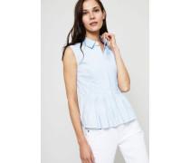 Baumwoll-Bluse mit Plissee-Details Blau