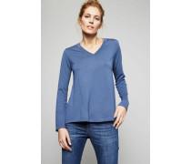 Pullover mit V-Ausschnitt Mittelblau