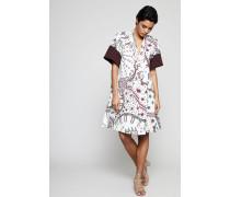 Kurzes Kleid mit Allover-Print Multi - 100% Baumwolle
