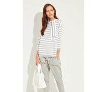 Gestreifter Baumwoll-Pullover Salbei/Weiß