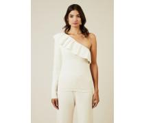 One-Shoulder Pullover 'Poppy Knit' Weiß
