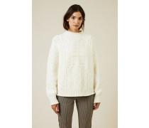 Woll-Cashmere-Pullover mit Logo Crémweiß - Cashmere