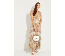 Langes Seiden-Kleid mit Rüschen Multi