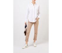 Baumwoll-Bluse mit Perlenverzierung Weiß/Multi