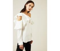 One-Shoulder Bluse mit Volant Crèmeweiß - Seide