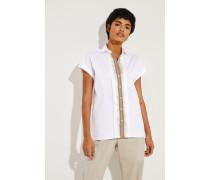 Kurzarm Bluse mit Perlenverzierung Weiß