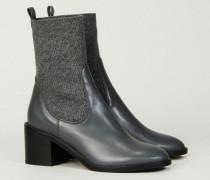 Leder-Stiefelette 'Selene' mit Strickschaft Grau - Leder