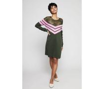 Woll-Kleid mit Netzdetail Khaki/Pink