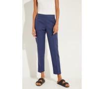 Baumwoll-Leinen-Hose mit elastischem Bund Blau