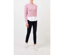 Cropped-Pullover aus Cashmere Pink meliert
