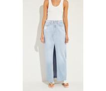 Langer Jeans-Rock mit Schlitz Blau