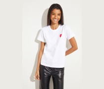 T-Shirt mit Herz-Emblem Weiß/Rot