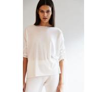 Leichter Pullover mit Perlenverzierung Weiß - Cashmere