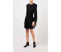 Kurzes Kleid mit Fransen Schwarz