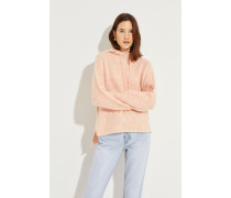 Mohair-Woll-Pullover mit Kapuze Rosé