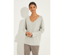 Baumwoll V-Neck Pullover Salbei -
